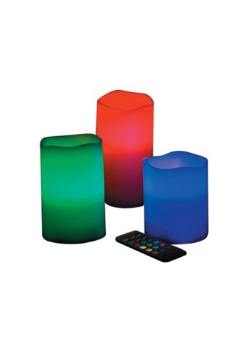 LED Color Changing Wax Pillar Candles Set of 3