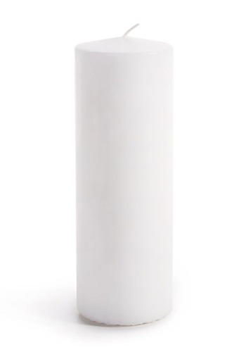 "Home Decor Set of 3 White Unscented Pillar Candles 2-7/8"" x7"