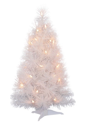 """24"""" Iridescent White Christmas Tree with Lights"""