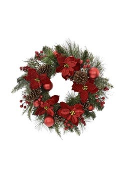 24 Inch Pine and Red Poinesettia Wreath