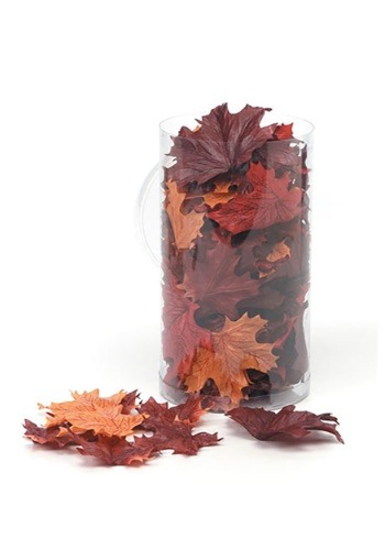 Image of 100 Silk Screen Maple Leaves in a Canister Decorations