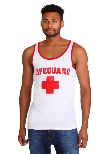Men's Red and White Lifeguard Tank Top 1