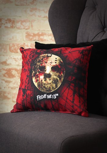 """Bloody Friday the 13th Jason Mask 14"""" x 14"""" Throw Pillow"""