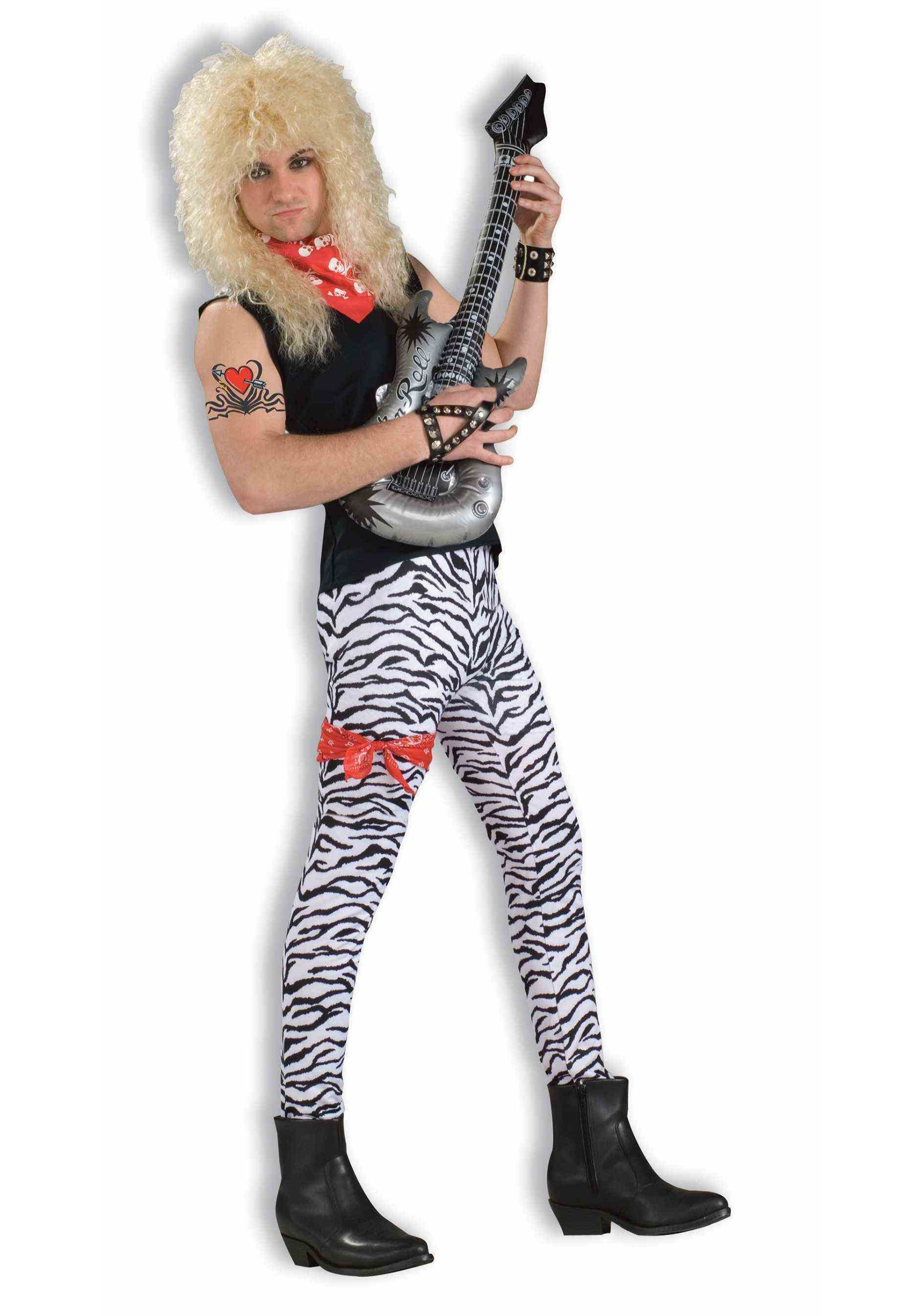 Adult Men/'s 80s Heavy Metal Rock Halloween Cosplay Costume Spandex Stretch Pants