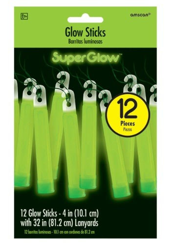 "Green Glowsticks - 4"" Pack of 12"