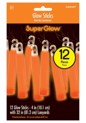 "Orange Glowsticks - 4"" Pack of 12"