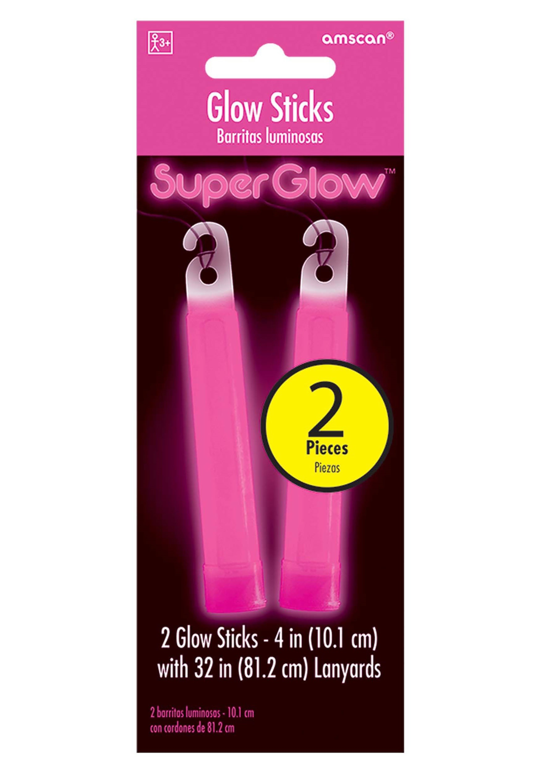 4 pink glow sticks pack of 2