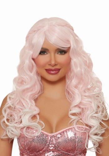 Long Wavy Light Pink Wig for Women