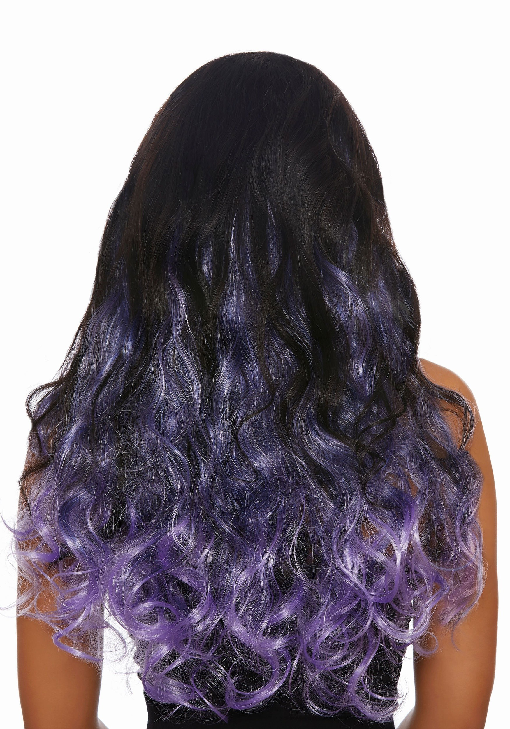 Long Curly Lavender Ombre Womens Hair Extensions