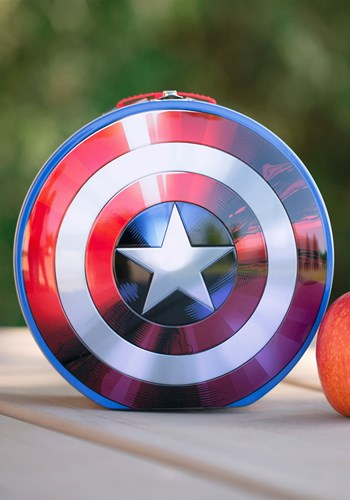 Click Here to buy Marvels Captain America Shield Shaped Tin Tote from HalloweenCostumes, CDN Funds