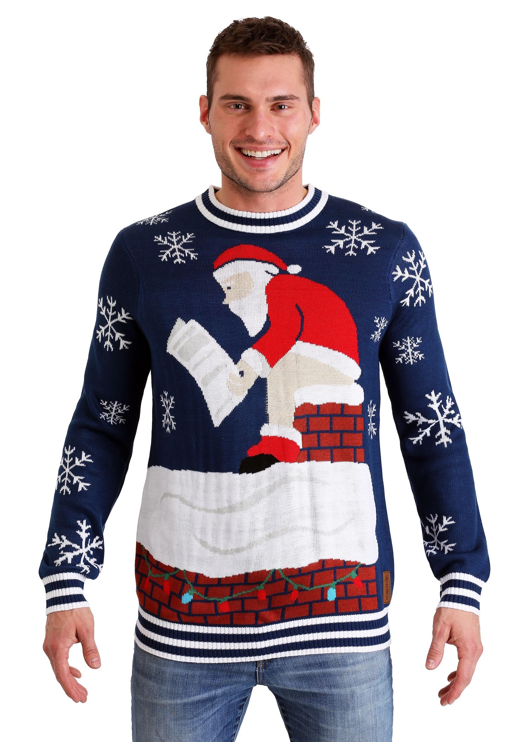 Tipsy Elves Roof Santa Ugly Christmas Sweater For Men