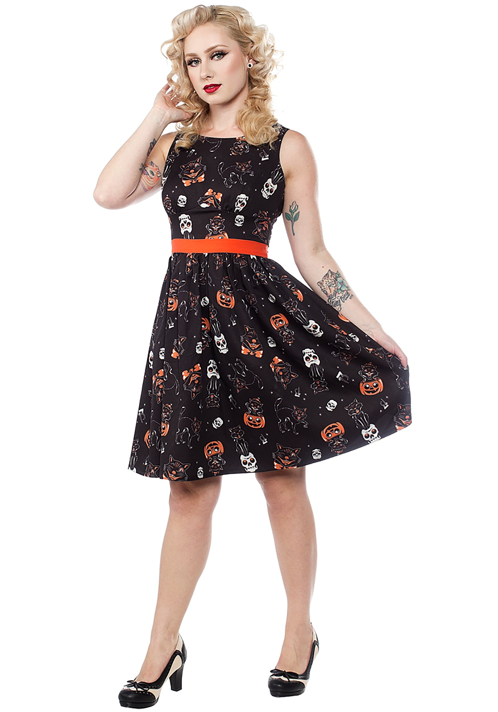 Cat Womens Adult Black Fit And Flare Halloween Animal Costume Dress