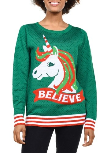 Women's Tipsy Elves Unicorn Ugly Christmas Sweater