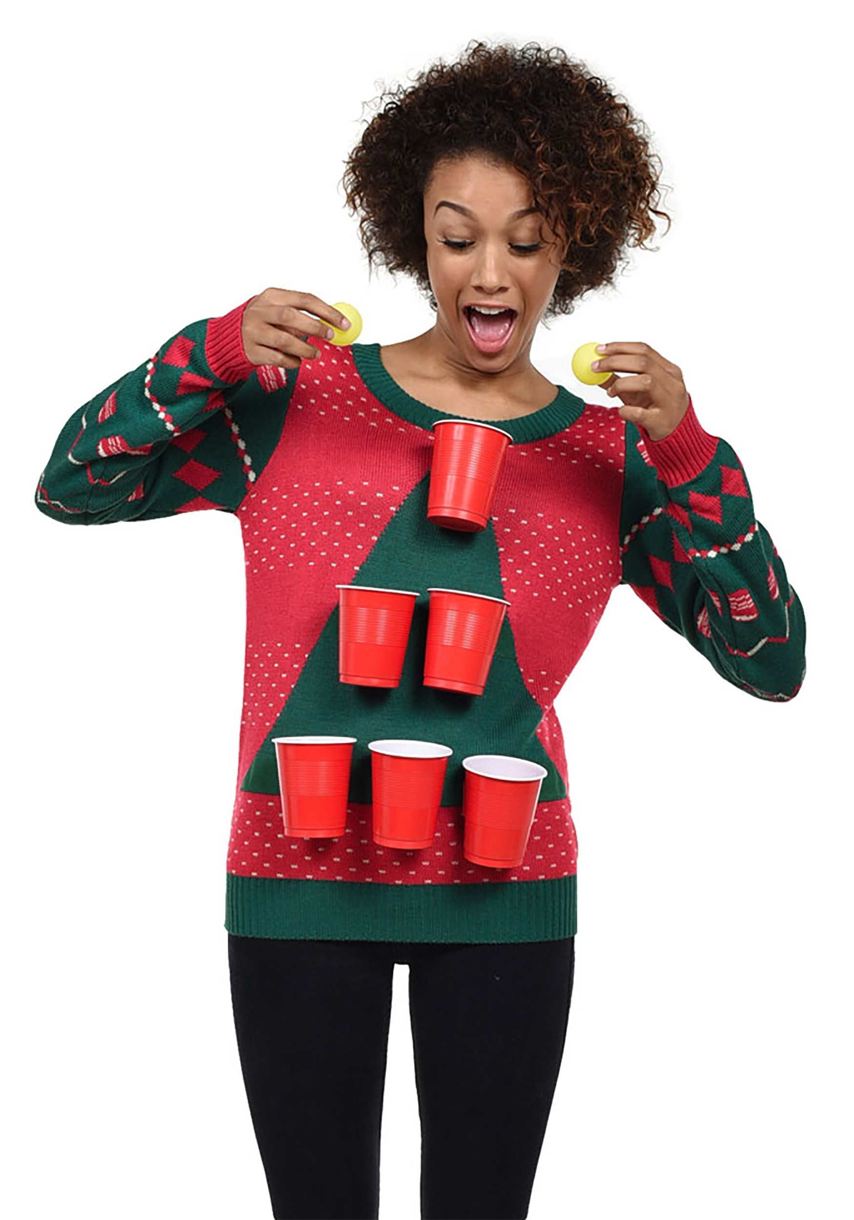 Tipsy Elves Beer Pong Ugly Christmas Sweater For Women