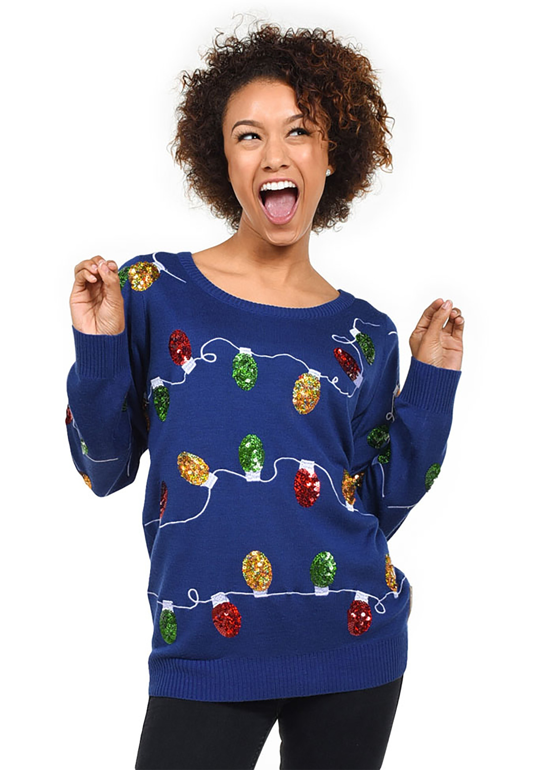 womens tipsy elves christmas lights ugly christmas sweater - Ugly Christmas Sweater Elf