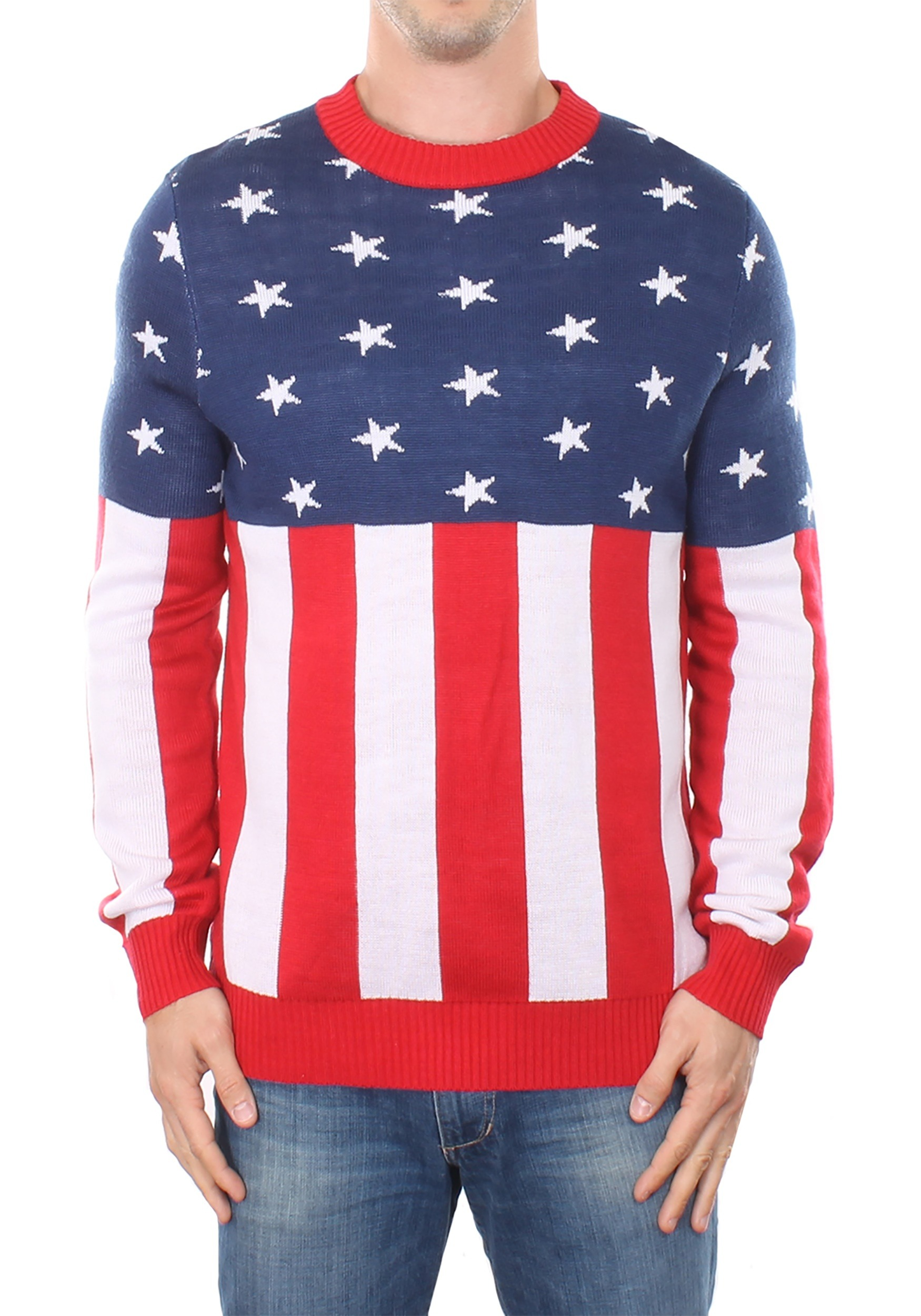 f5be6eeb605 The Tipsy Elves Mens American Flag Holdiay Sweater