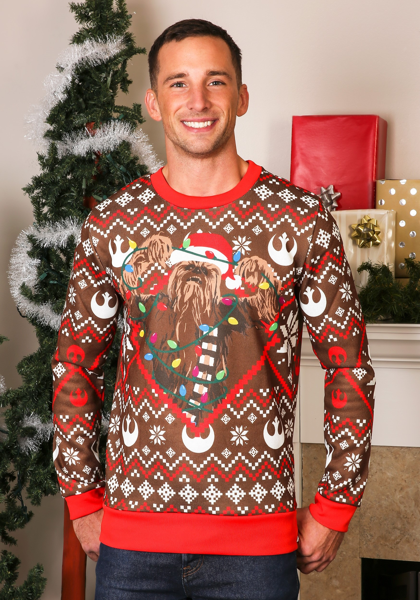 906776b7e0d Adult Star Wars Chewbacca Lights Brown Red Ugly Christmas Sweater