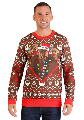 Image of Star Wars Chewbacca Lights Brown/Red Ugly Christmas Sweater
