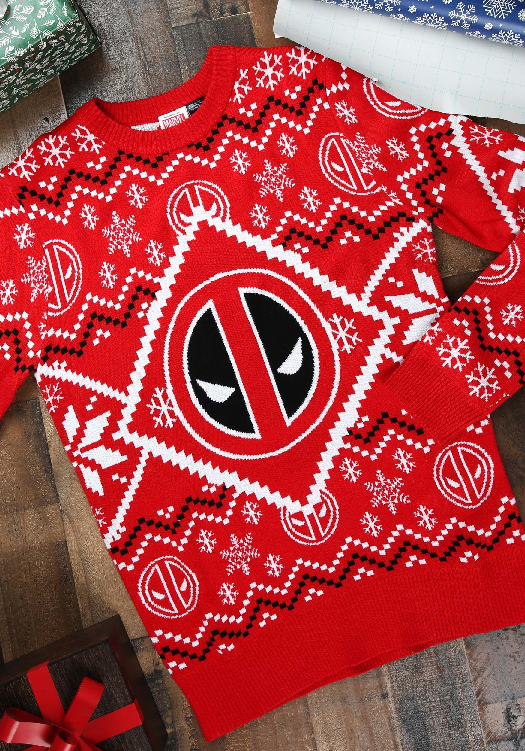 4c924598453 Deadpool Icon Red White Intarsia Knit Ugly Christmas Sweater XS-4X