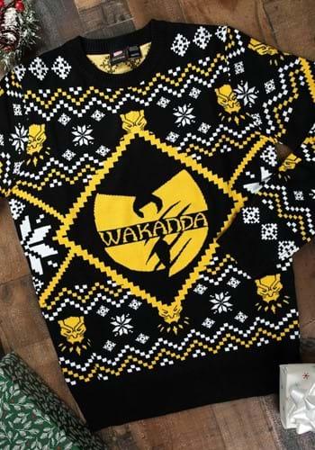 Black Panther Wakanda Black/Gold Intarsia Knit Ugly Sweater – Size: L – Acrylic