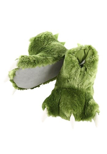 Kid's Green Dino Paw Slippers