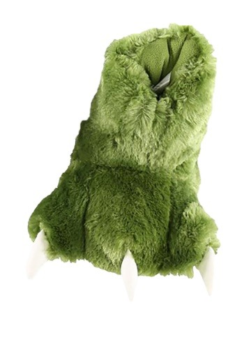Kids Green Dino Paw Slippers