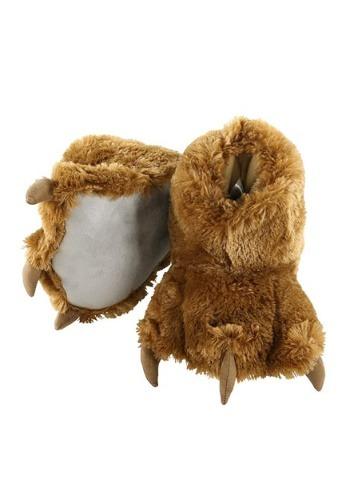 Kids Brown Bear Paw Slippers