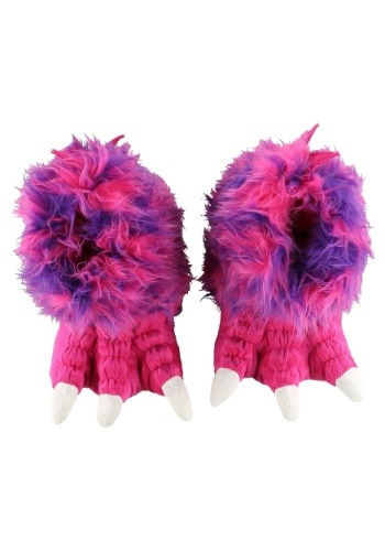 Adult Pink Monster Paw Slippers