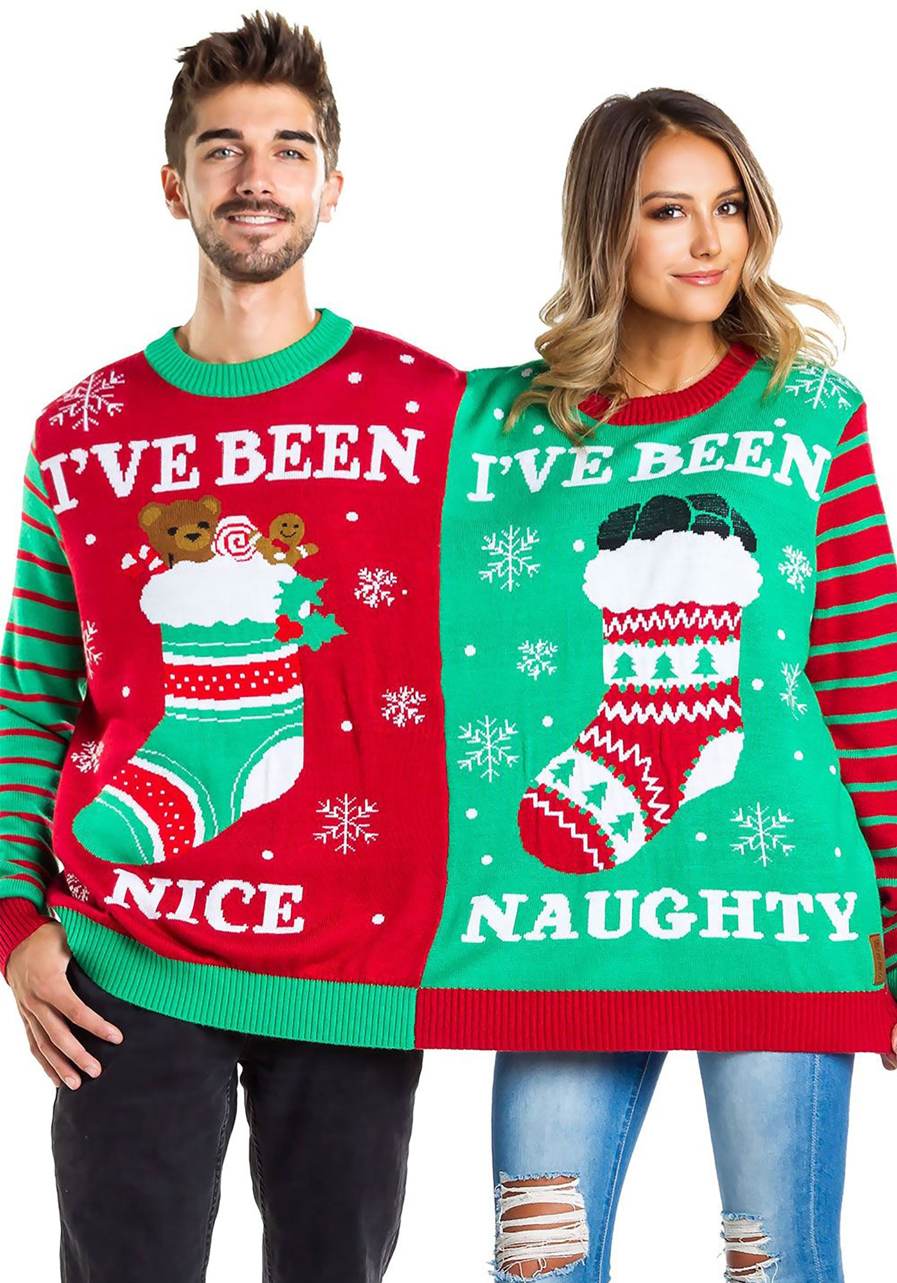 Naughty And Nice Two Person Tipsy Elves Ugly Christmas Sweat