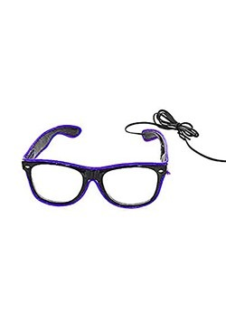 Black Frame EL Wire Glasses Purple