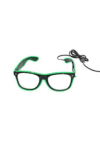 Green EL Wire Glasses with Black Frame