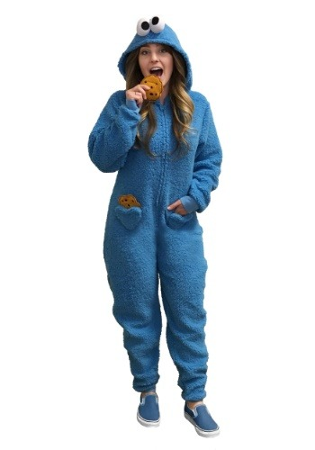 Click Here to buy Womens Cookie Monster Pajama Costume from HalloweenCostumes, CDN Funds