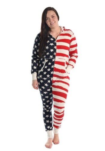 Womens Stars and Stripes Hooded Onesie
