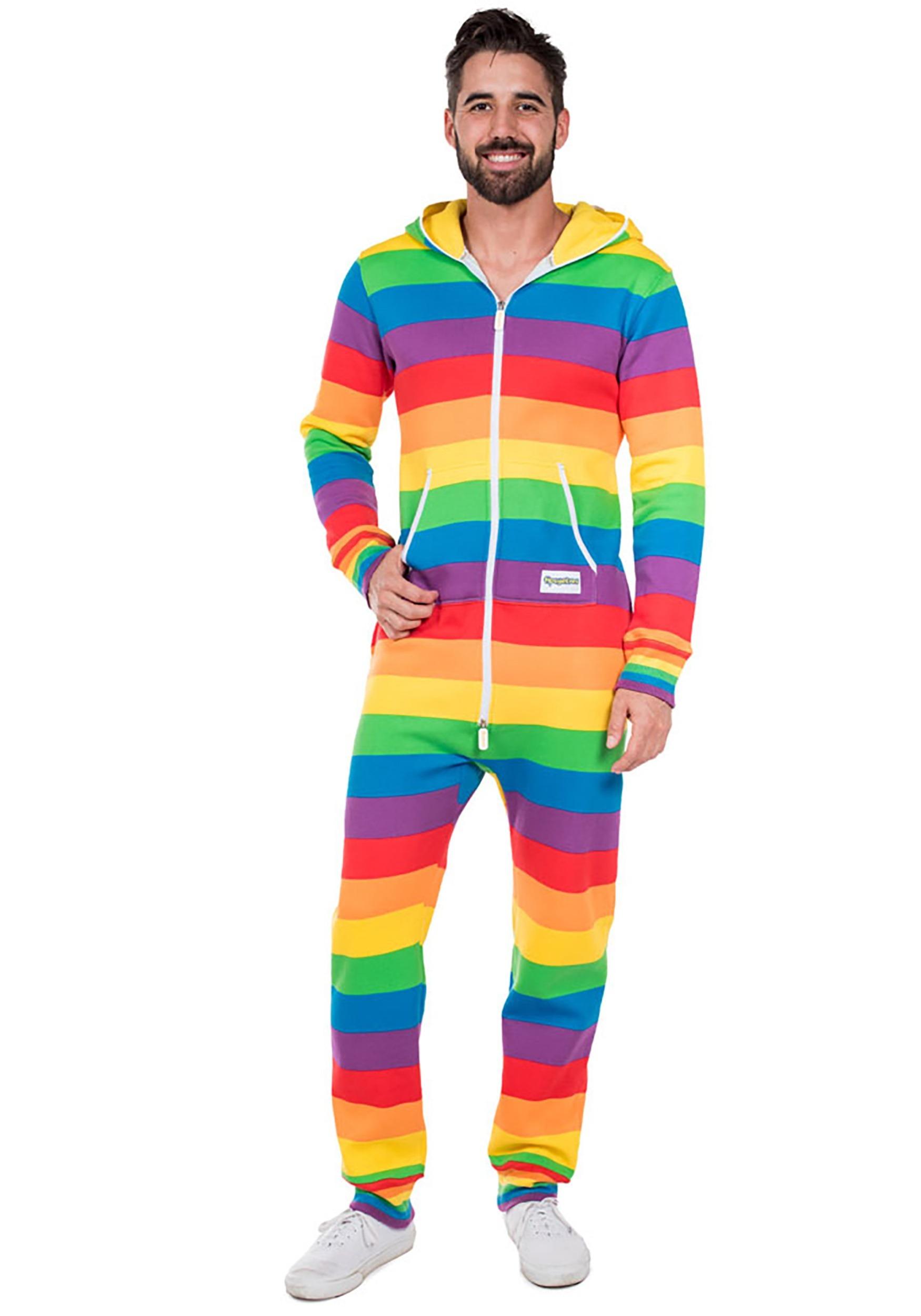 b3bae7946032da Men's Tipsy Elves Rainbow Jumpsuit Costume