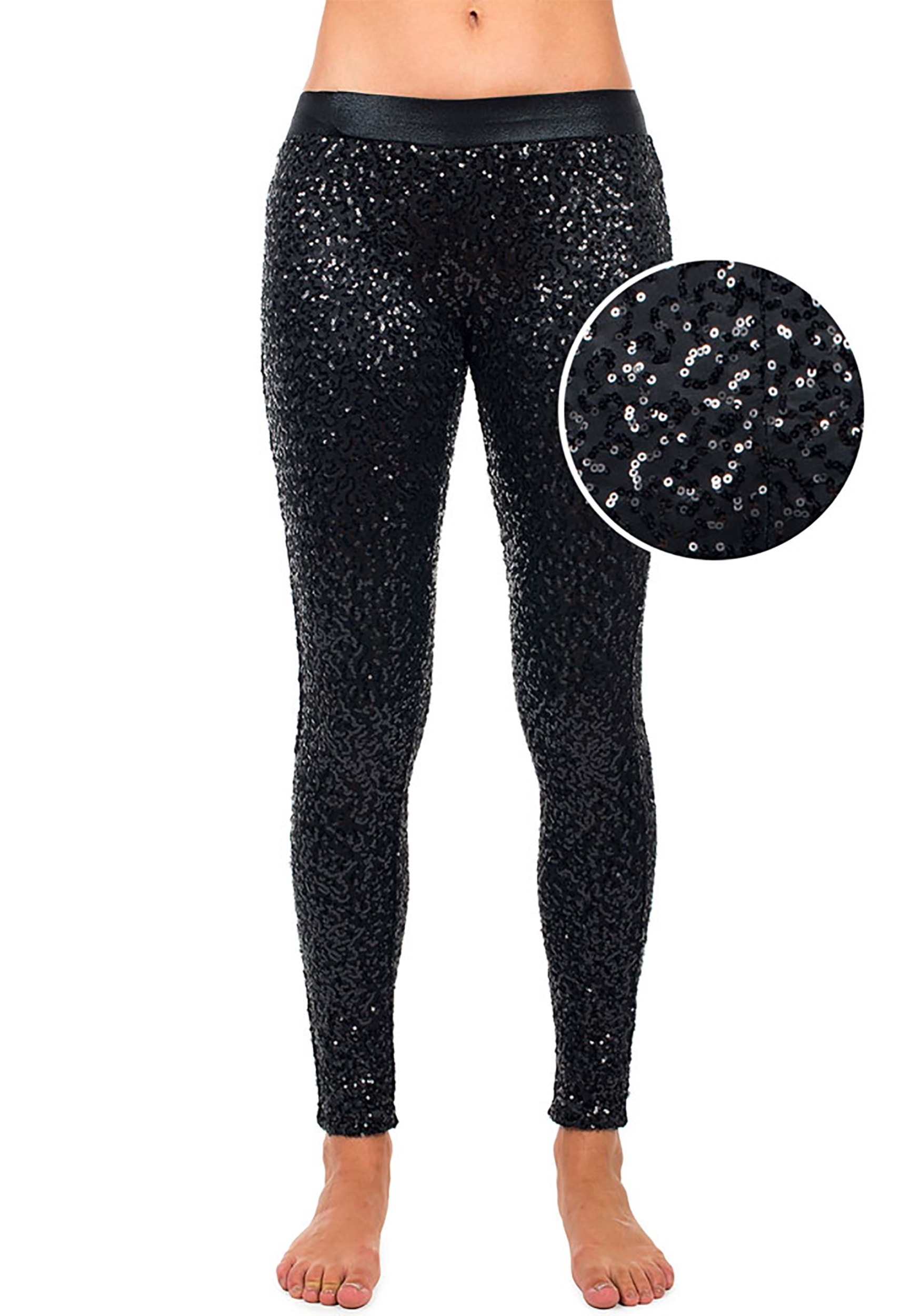 0f00089c74e11 Women's Tipsy Elves Black Sequin Leggings