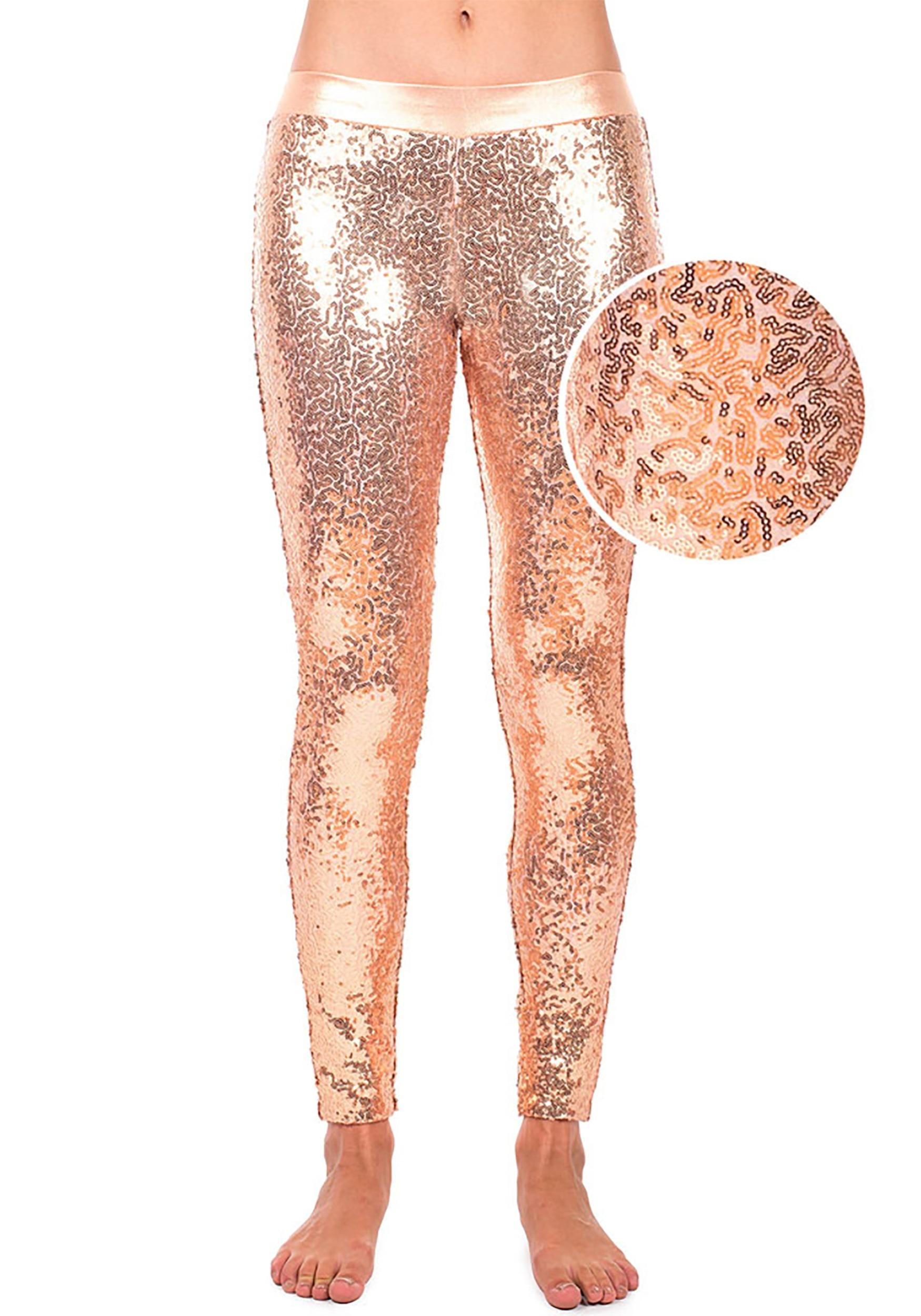 134762cd9c24c Tipsy Elves Rose Gold Sequin Leggings for Women