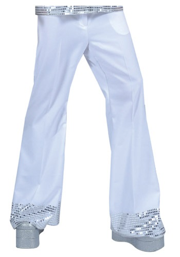 Click Here to buy Mens White Sequin Cuff Disco Pants from HalloweenCostumes, CDN Funds