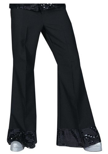 Click Here to buy Black Sequin Cuff Disco Pants from HalloweenCostumes, USA Funds & Shipping