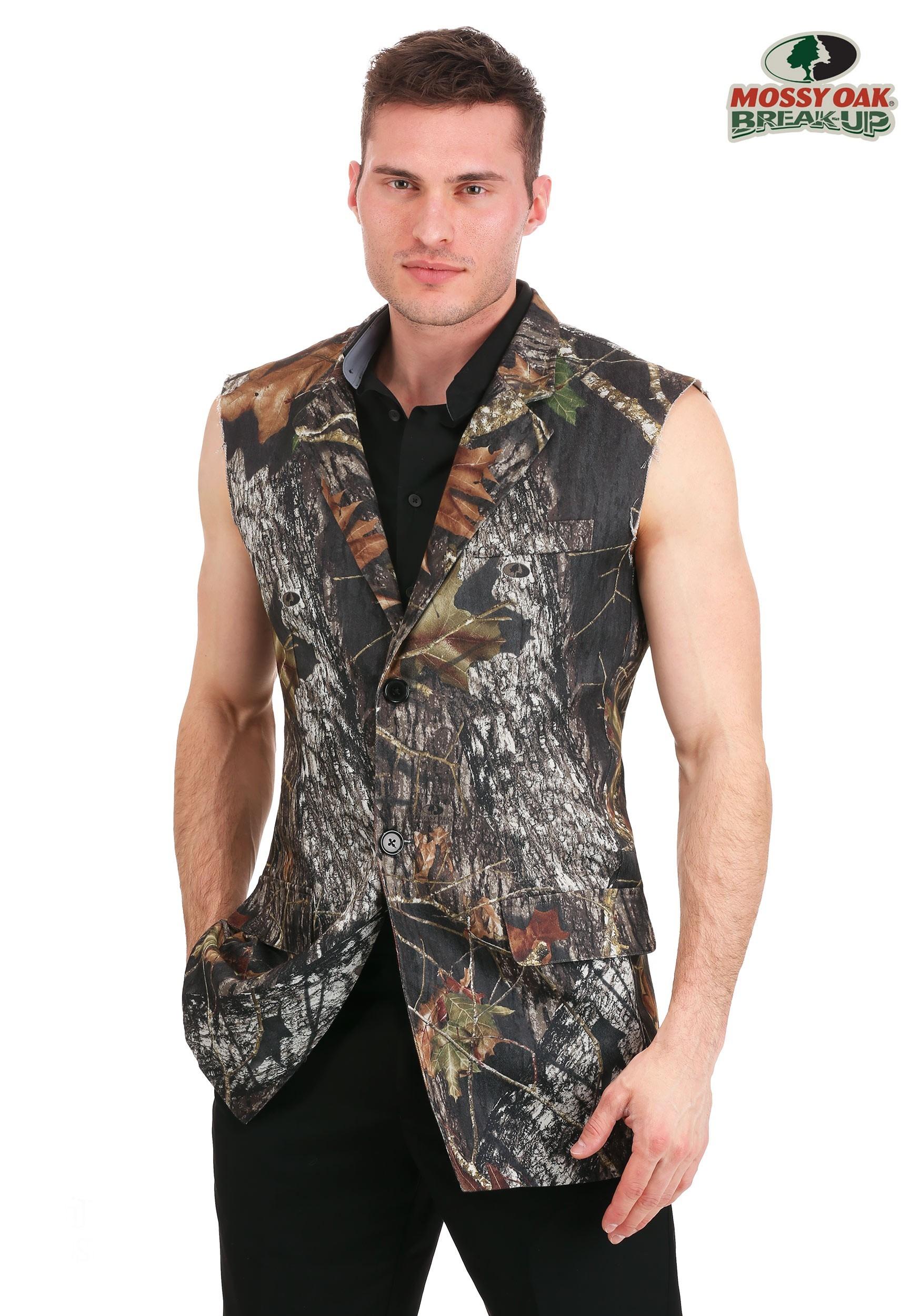 Plus Size Men\'s Mossy Oak Sleeveless Tuxedo Jacket
