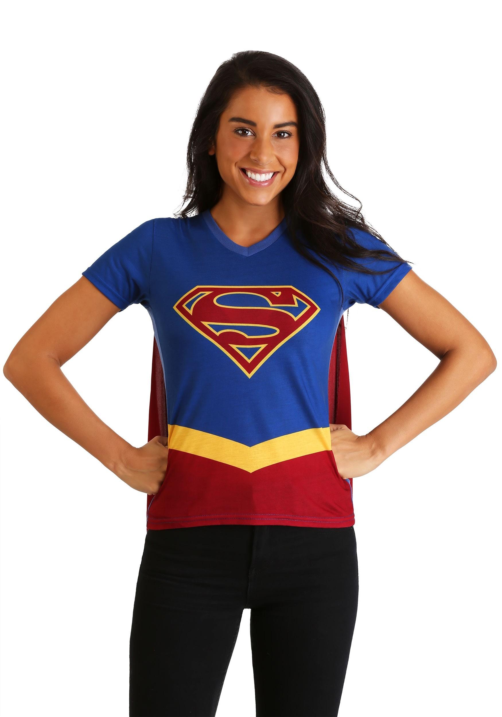 04a8143374800 ... Supergirl Cape Costume Womens T-Shirt alt