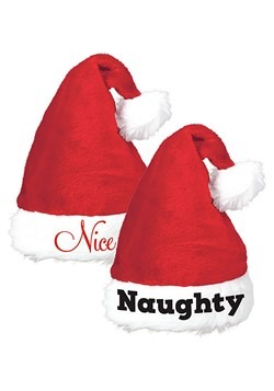 Naughty and Nice Santa Hats - Set of Two