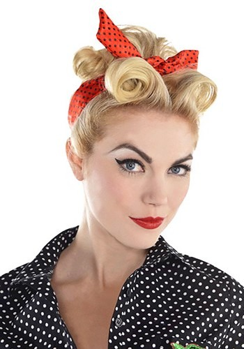 Red Polka Dot Rockabilly Hair Scarf Accessory