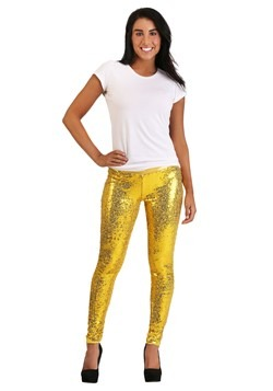 Tipsy Elves Gold Sequin Women's Leggings11