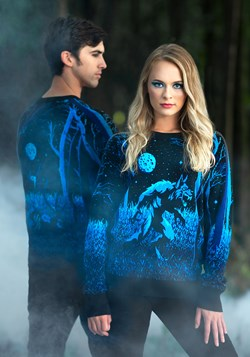 Prowling Werewolf Ugly Halloween Adult Sweater 1