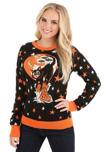 Adult Vintage Halloween Cat Halloween Sweater