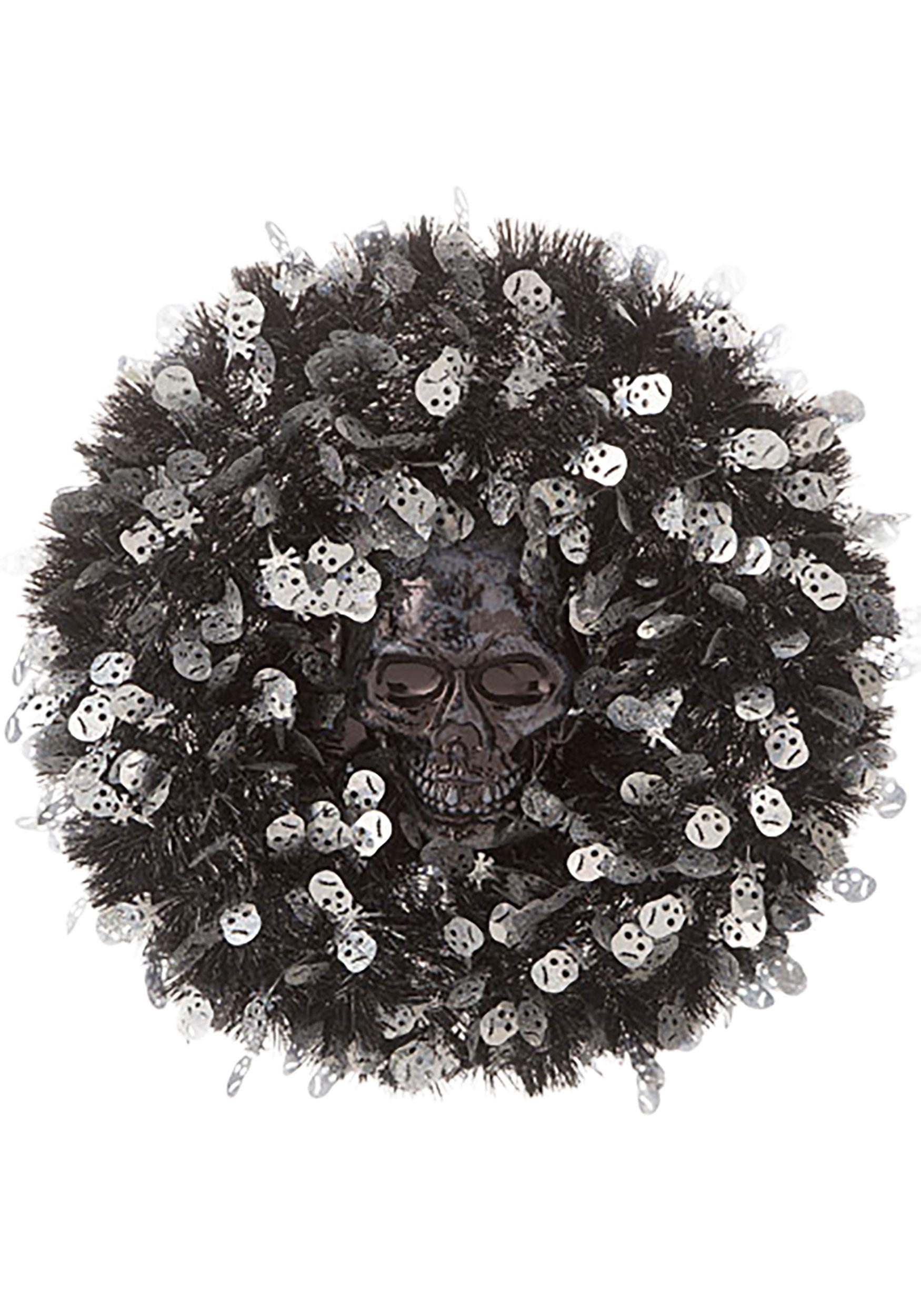18in Tinsel Skull Halloween Wreath