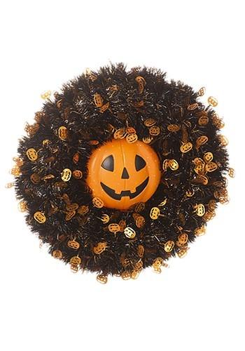 Tinsel Pumpkin 18in Halloween Wreath