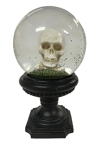 Skull Water Globe- Polyresin/Glass Halloween Decor