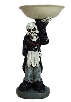 Skeleton Butler with Resin Treat Bowl Halloween Decoration