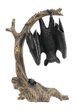Bat Hanging Off Tree Resin Tabletop Halloween Deco